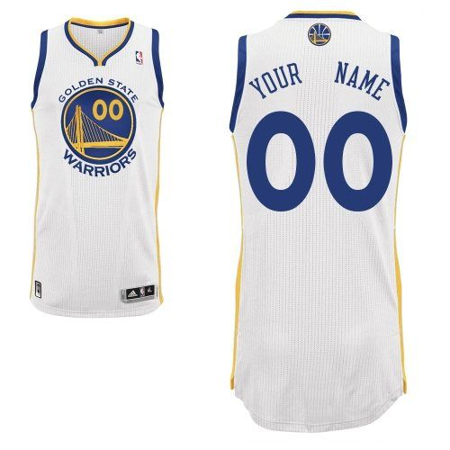 -Buy 100% official Adidas Men's Authentic White Jersey Customized NBA Golden State Warriors Home Free Shipping.