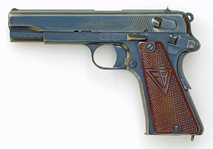 """VIS Radom Model 35 (Polish designation pistolet wz. 35 Vis, German designation 9 mm Pistole 35(p), is a 9 mm caliber, single-action, """"three lever"""", semi-automatic pistol. Originally designed in 1930 at the Fabryka Broni (Arms Factory) in Radom, Poland. Considered by many to be one of the finest handguns ever produced it is highly prized among collectors of firearms. Note the absence of the Polish Eagle and the red-brown plastic grips indicates the German production under occupation."""