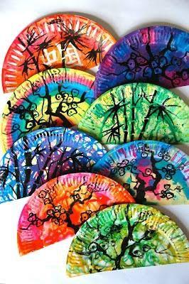 "Plats creatius - ""Platos creativos"" http://arteascuola.com/2013/04/oriental-fans-with-paper-plates/"