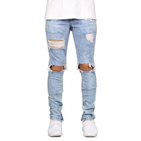Distressed Denim, Skinny Biker Jeans, Slim Jeans, Jeans For Men, Male Jeans, Blue Ripped Jeans, Ripped Knees, Jeans Material, Destroyed Jeans