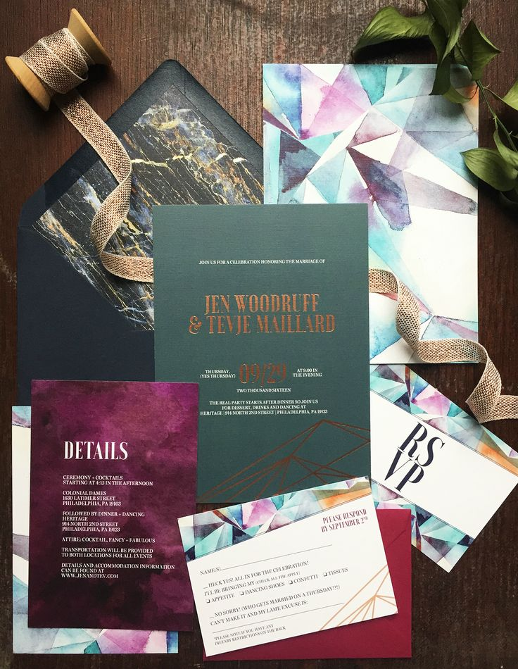 how many stamps do i need for my wedding invitations%0A Eclectic Jewel Tone Geometric Wedding Invitations by Papertree Studio