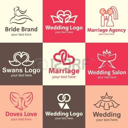 Logo idee icone piane di nozze set di marca photo