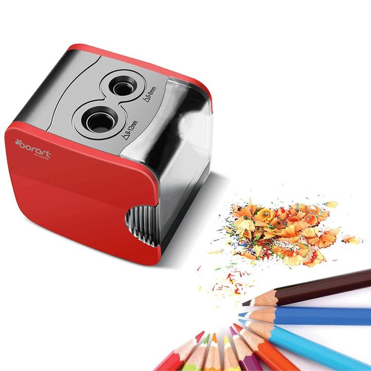 Electric Pencil Sharpener Dual Holes 2 Battery Operated USB Powered Auto Red NEW #Dorart