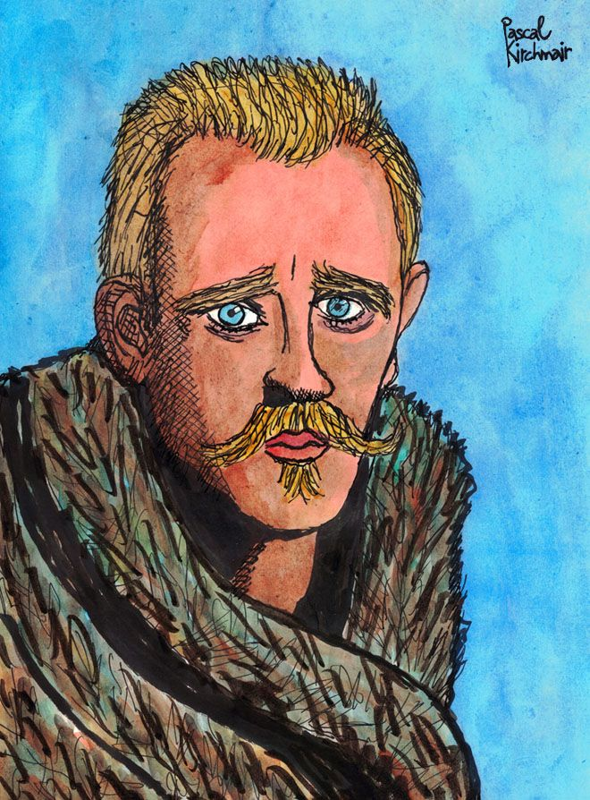 Fridtjof Nansen (10 October 1861 – 13 May 1930) was a Norwegian explorer, scientist, diplomat, humanitarian, and Nobel Peace Prize laureate. In his youth he was a champion skier and ice skater.  Watercolour and ink on paper, 21 x 29,7 cm  フリチョフ・ナンセン