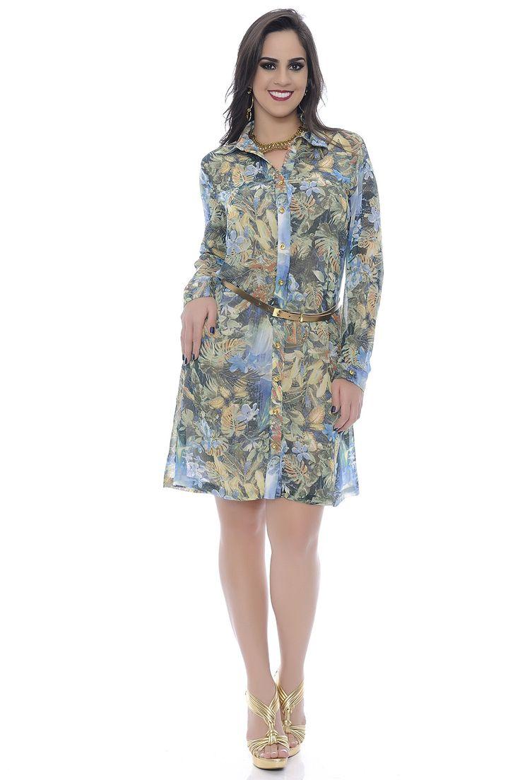 Vestido Chemisie Chiffon Manga Longa - Chic e Elegante
