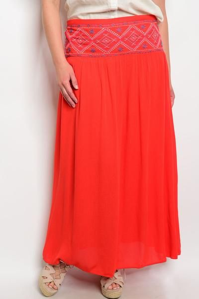 79d85b0b57958 Plus Size High Waist Lightweight Maxi Skirt With Embroidered Detail ...