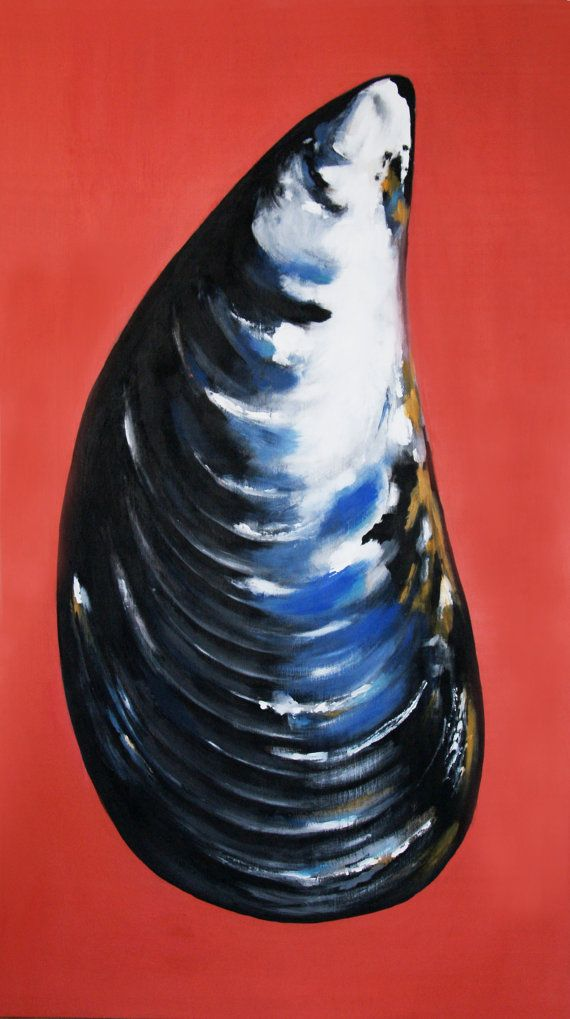 Mussel Shell Acrylic Painting on Wood, Original By Renée W. Levin on Etsy, $850.00