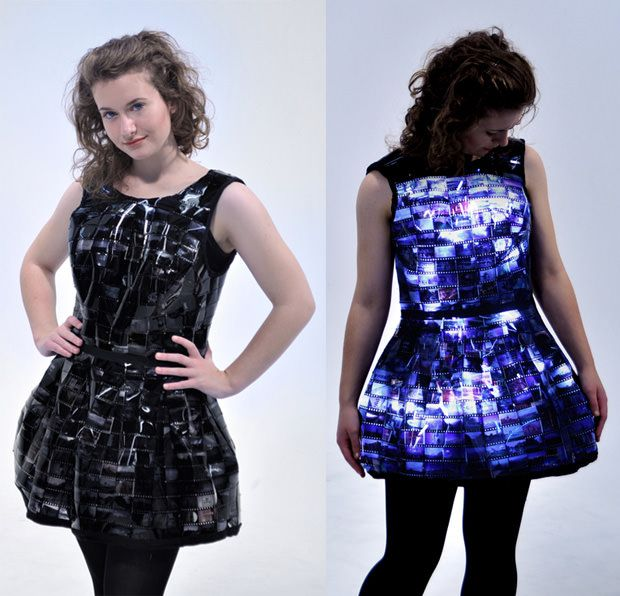 Dress Created with Film Strips and LEDs, Turns You Into a Walking LightboxGeek, Filmdress Minis, Sliding Dresses, 35Mm Film, Black Film Dresses, Emily Steel, Design Fashion, Dresses Create, Film Strips