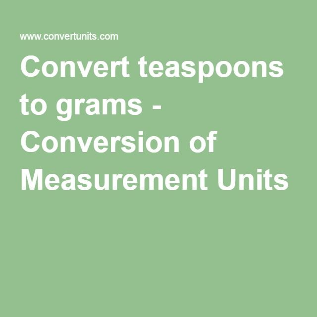 Convert teaspoons to grams - Conversion of Measurement Units