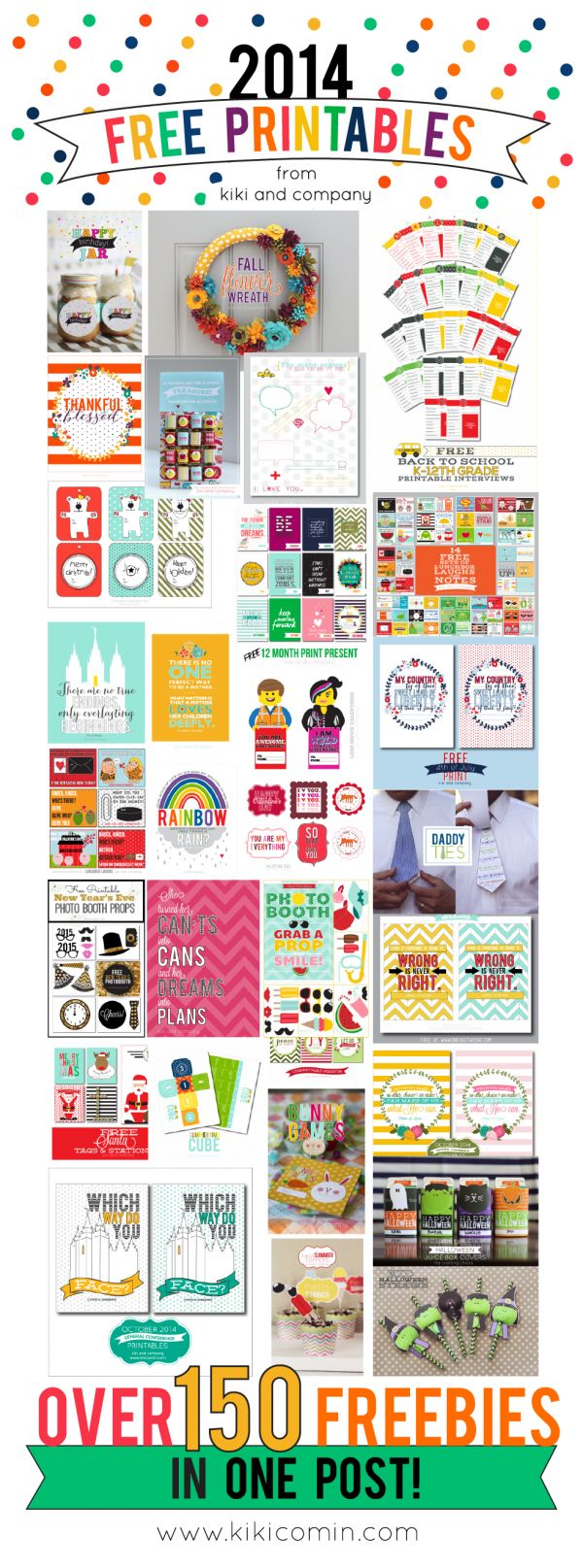 Pinning this one is a must! A Year of Free Printables // 2014 edition from kiki and company. OVER 150 FREE printables in ONE post. They cover every holiday plus everything in between and every single one is free.