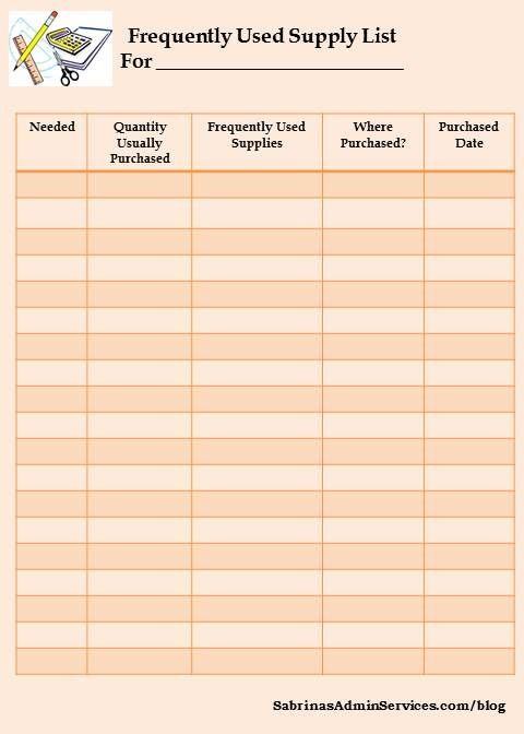 office supply list template standard office supplies standard office