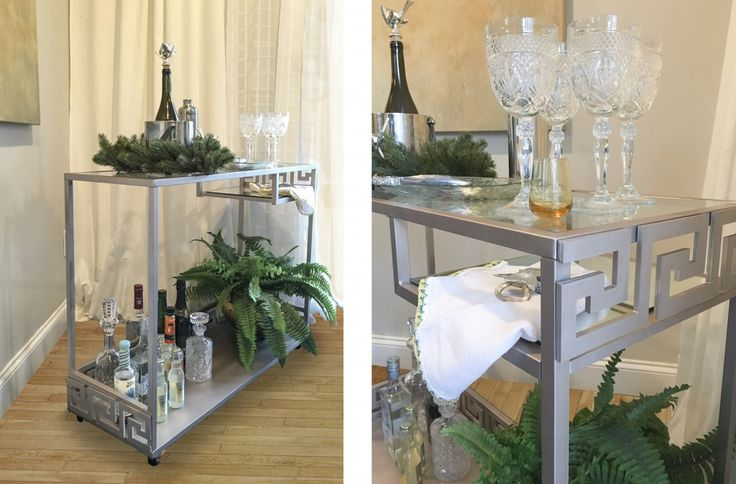 Wouldn't it be great to have a beautiful bar cart for the holidays?  This easy Ikea hack will make it possible. Using the Ikea Vittsjo computer desk , spray paint and O'verlays it is not only possible by very affordable.  You and your guests will be sipping pretty.....