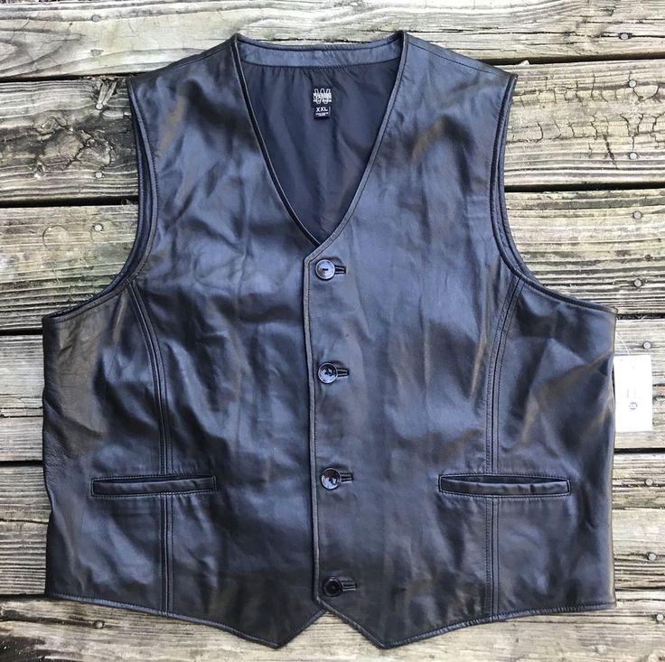 WILSONS LEATHER Pelle Studio Black Leather Motorcycle Vest Men's 2XL #WilsonsLeather #Motorcycle