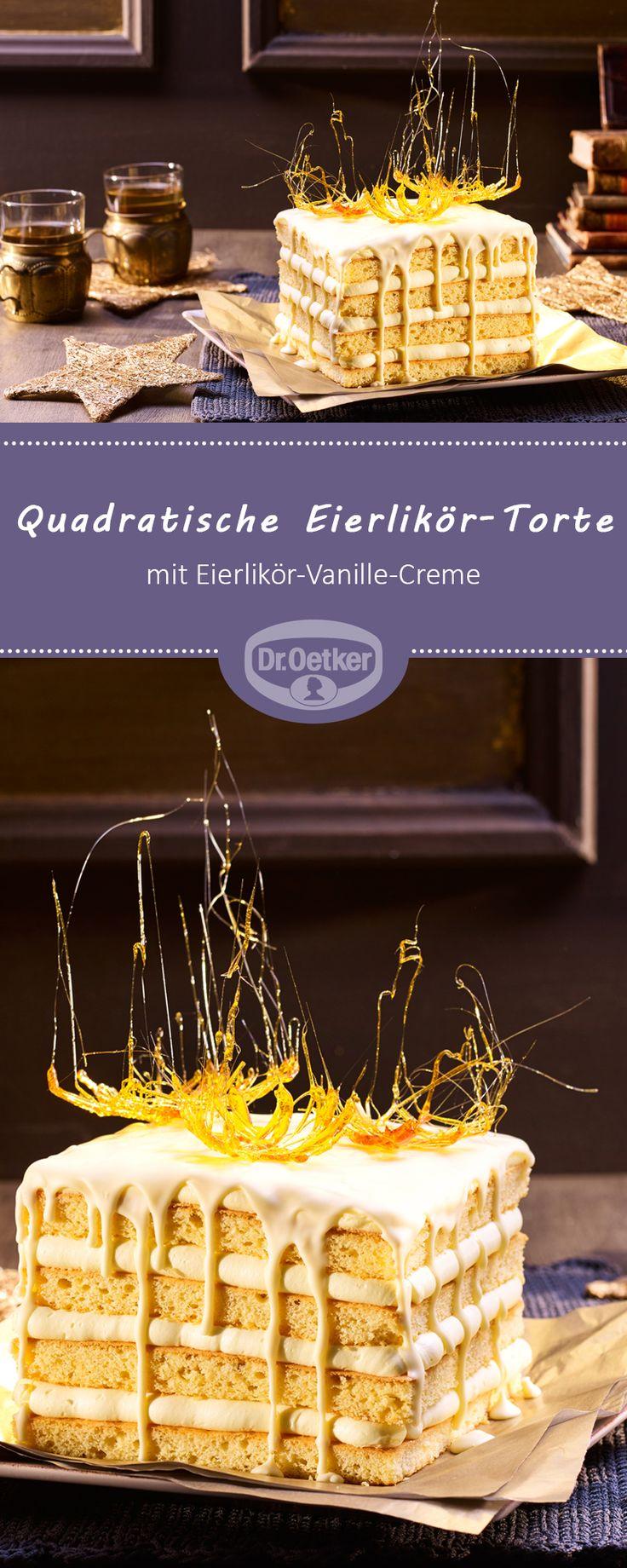 Quadratische Eierlikör-Torte: Torte gefüllt mit Eierlikör-Vanille-Creme in quadratischer Form