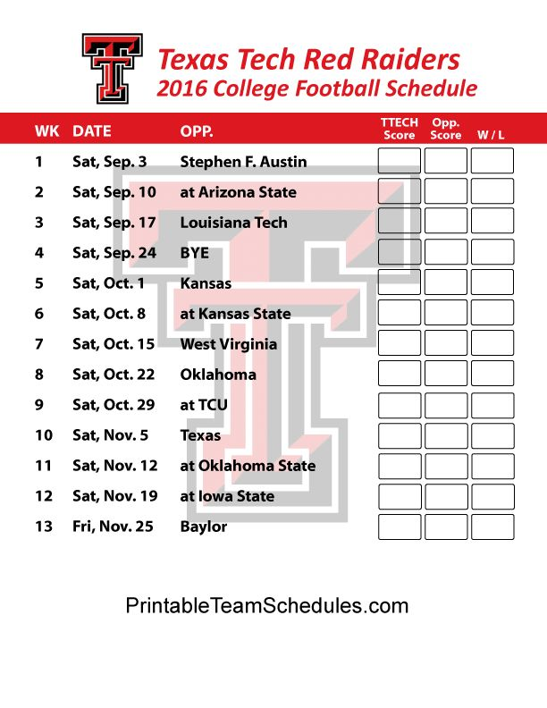 Texas Tech Red Raiders Football Schedule 2016. Printable Schedule Here - http://printableteamschedules.com/collegefootball/texastechredraiders.php