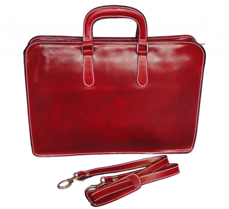 Red Italian leather briefcase for women from Florence, Italy