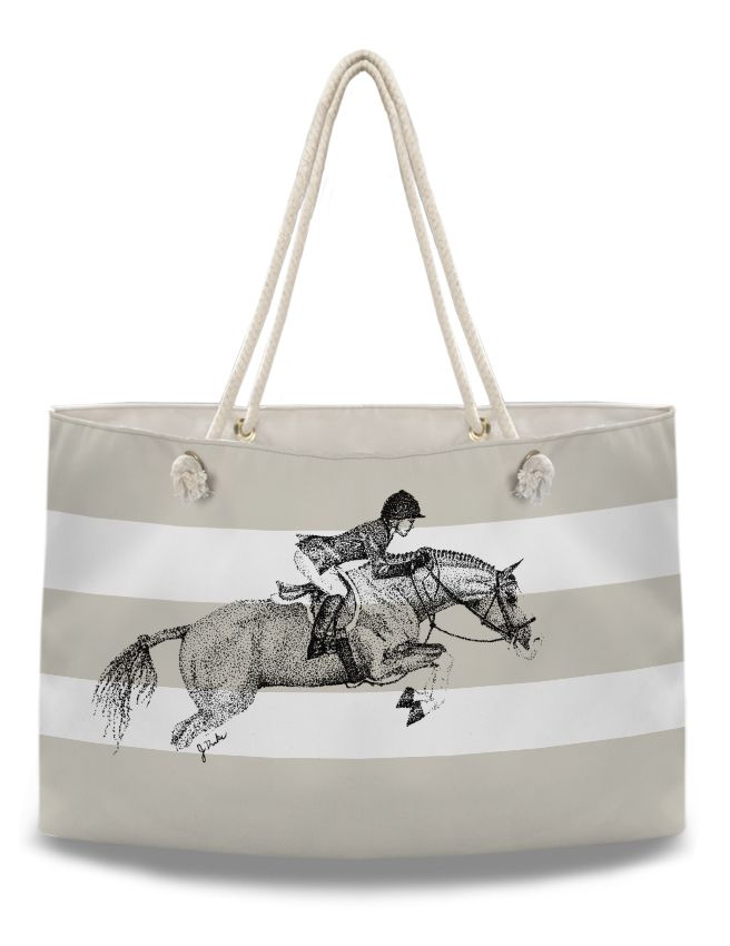 Horse Lover Oversized Bag - Hunter Pony Equestrian Weekender Tote Bag - The Painting Pony - hunter jumper show jumping themed gift for the horse lover.