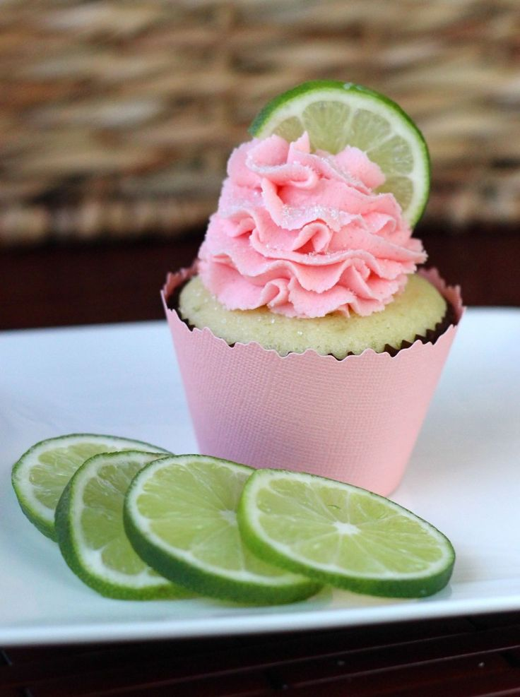 Strawberry Lime Cupcake-this combination sounds delicious! Will make with strawberry cake mix rather then white.  Love how most of her cakes call for cake mixes:).