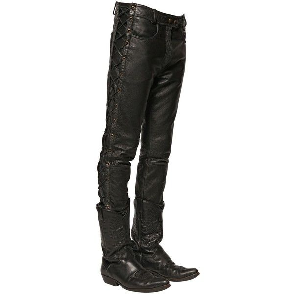 Faith Connexion Men 16.5cm Lace-up Washed Leather Jeans (2.760 BRL) ❤ liked on Polyvore featuring men's fashion, men's clothing, men's jeans, black, mens slim jeans, mens slim fit jeans, mens leather jeans and mens jeans