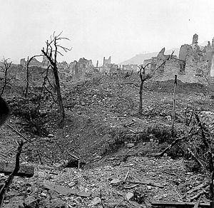 The ruins of the town of Cassino after the Battle of Monte Cassino, January to May 1944. Part of The Winter Line and the Battle for rome Campaign.