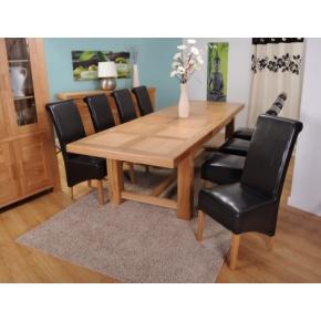 59 999Kč Grand Marseilles Komplet - velký dubový jídelní stůl s 8 koženými židlemi Krista - hnědá