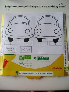"""- bientôt la fête des pères, voici nos réalisations """" porte courrier voiture """" , avec la photo de l'enfant au volant de la voiture... - gabarit de la voiture deux faces , devant et derrière a coller sur du carton d'emballage style pizza , decouper et..."""