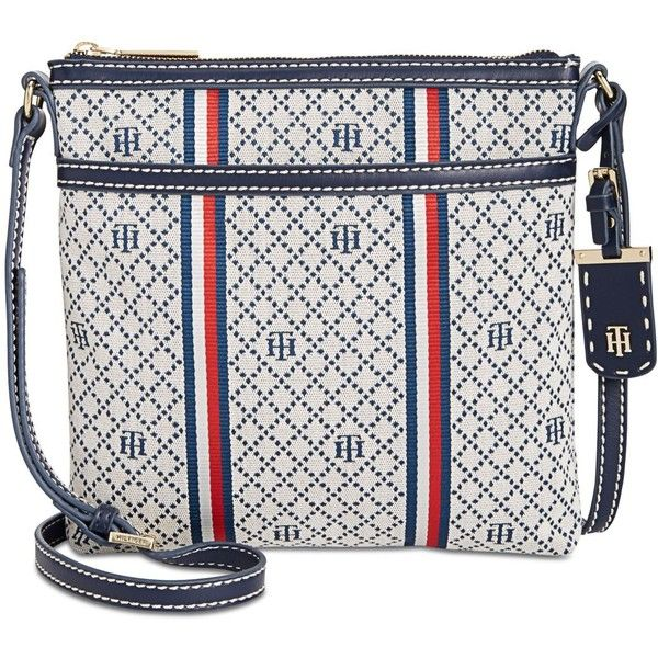 Tommy Hilfiger Julia Small Crossbody ($62) ❤ liked on Polyvore featuring bags, handbags, shoulder bags, striped shoulder bag, tommy hilfiger handbags, white cross body purse, white purse and crossbody shoulder bag