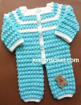 Free baby crochet pattern for bobbly rompers http://www.justcrochet.com/rompers-usa.html #justcrochet: