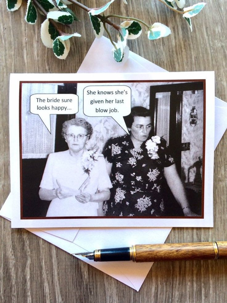 Funny bridal shower card vintage photo card naughty