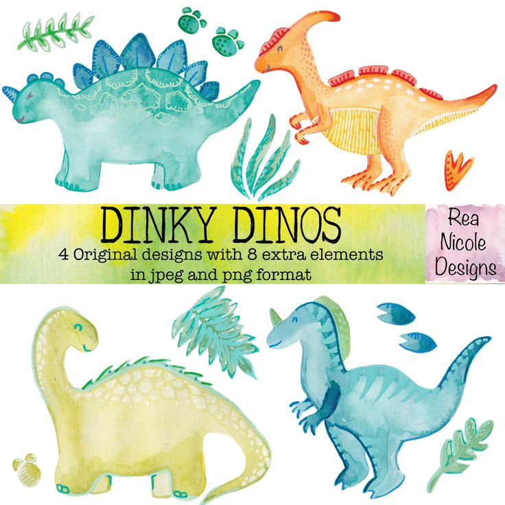 Dinky Dinosaurs Watercolor clipart, perfect for scrapbooks,digital projects,planners,craft projects, printable art, stickers by ReaNicoleDesigns on Etsy