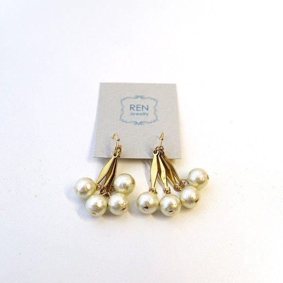 ミントカラーコットンパールピアス|RENjewelry