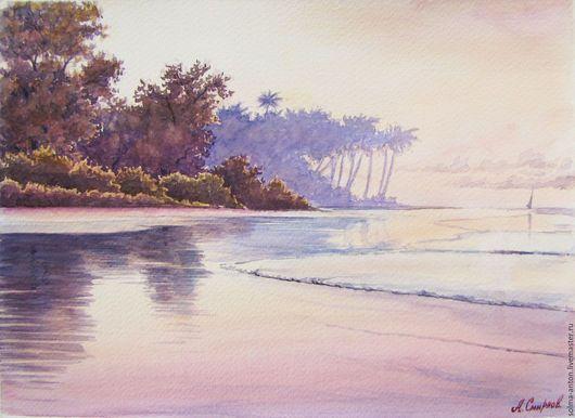 Пейзаж ручной работы. Ярмарка Мастеров - ручная работа. Купить Тропический этюд. Handmade. Бледно-розовый, пальма, океан, тропики