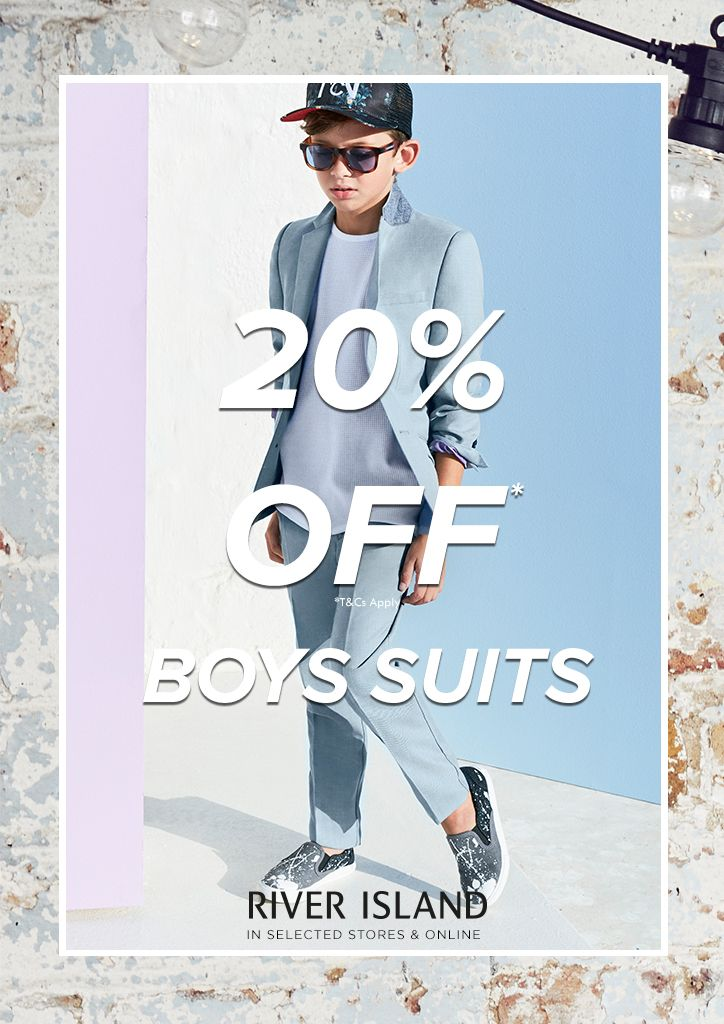 20% off boys suits in @riverisland