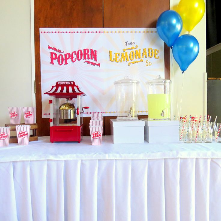 Drinks station & popcorn -Circus party