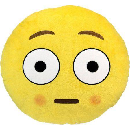 Emoji Large Pillow, Blushed Face, White