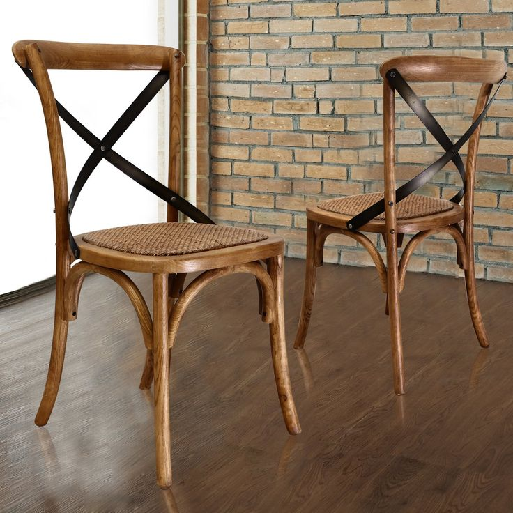 vintage style x back solid wood cane seat dining chair set of 2