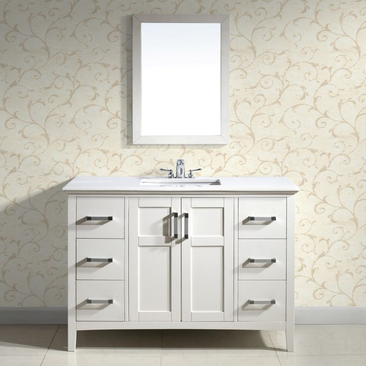 New Doors For Bathroom Vanity: Salem White 48-inch Bath Vanity With 2-doors And White