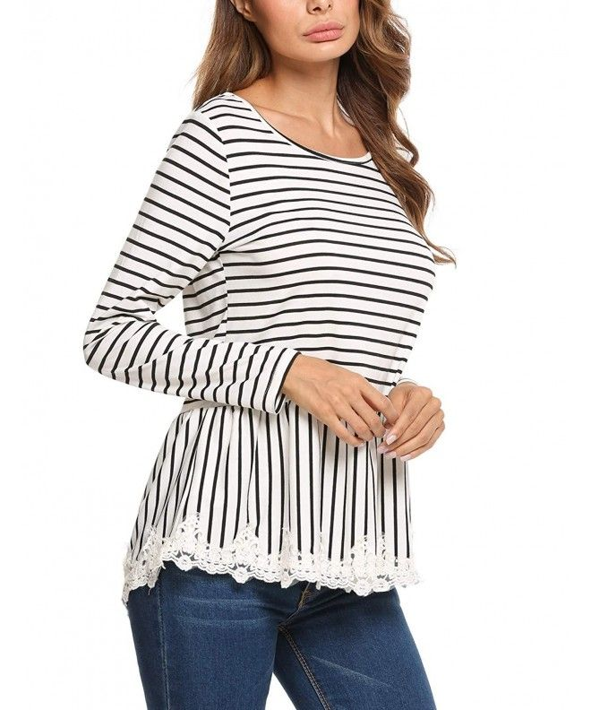 1bff53de2 Women's Casual Long Sleeve Striped Frill Lace Trim Tops Shirt - Black -  CH18520HRSA,Women's Clothing, Tops & Tees, Blouses & Button-Down Shirts  #Tops #Tees ...