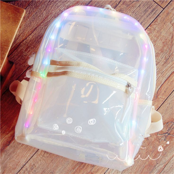 Cute transparent jelly bag with flash backpack YV113
