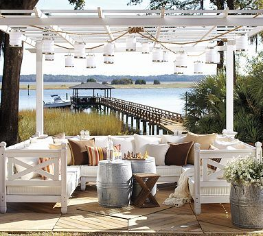 Love the view and love the simple white furniture and lanterns.Ideas, Beach House, Dreams, Outdoor Living, Gardens, Patios, Outdoor Spaces, Pottery Barns, Backyards