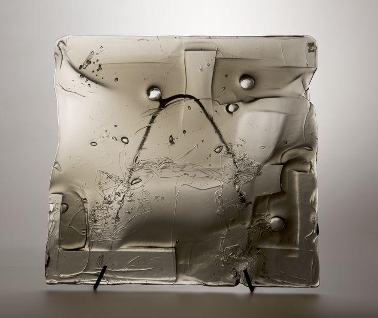 Lubomir Blecha, the glass relief, 1969, glassworks Borske sklo - Nový Bor (Haida), M: 40,0 x 41,0 cm, Czechoslovakia
