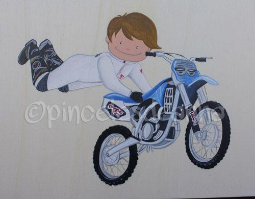 Cuadro infantil de un pequeño motorista saltando   By Anna Lajarin