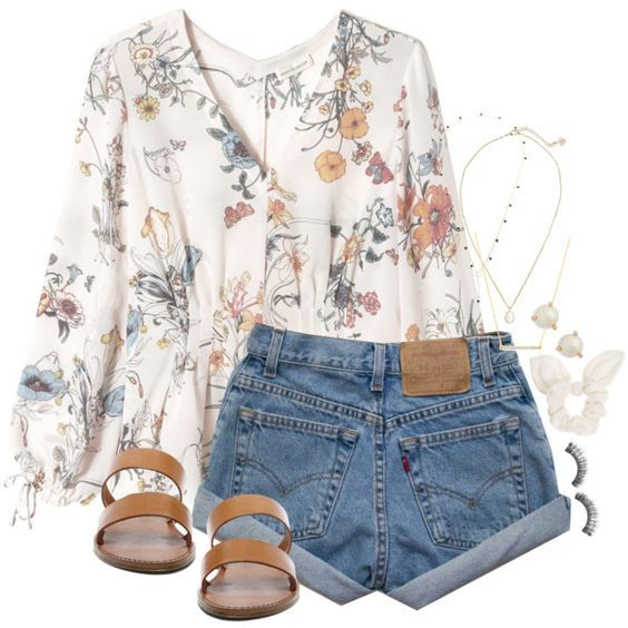 #spring #outfits / flower blouse +denim shorts