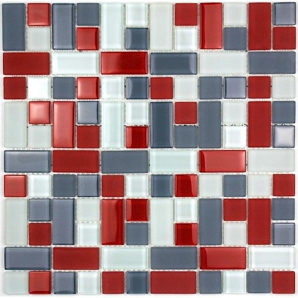 Carrelage mosaique verre faience 1 plaque cubic gris for Carrelage 90x90 gris