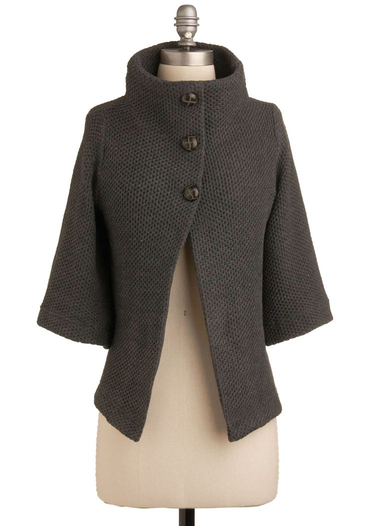 Corner Coffee Shop Cardigan - Solid, Buttons, Knitted, Casual, 3/4 Sleeve, Fall, Winter, Show On Featured Sale, Grey, Mid-length, Scholastic/Collegiate, Best Seller