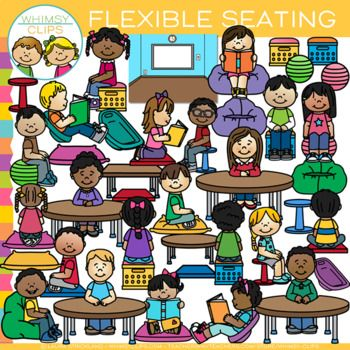 Create a flexible seating classroom with this packed set of illustrations, which includes a background, empty tables and seating, teachers at kidney tables, kids using flexible seating and more! You will receive 71 high-quality image files, which includes 39 color