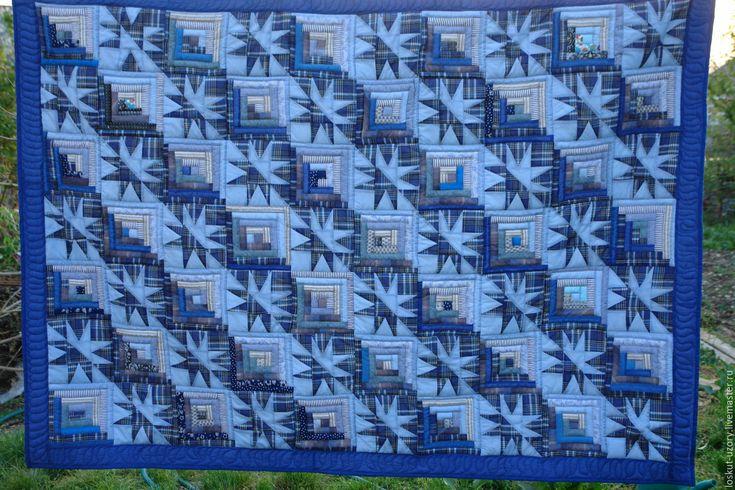 Купить лоскутное одеяло СНЕЖНОЕ, пэчворк - голубой, лоскутное одеяло, лоскутное шитье, лоскутный плед