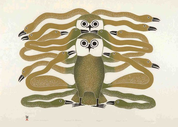 Kenojuak Ashevak - Owls Enveloped 24.5 x 32 Stonecut & Stencil (2004 Cape Dorset Print Collection) edition of 50