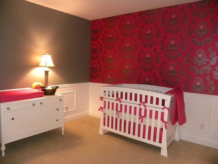 Selah S Nursey With Hot Pink Damask Wallpaper Accent Wall