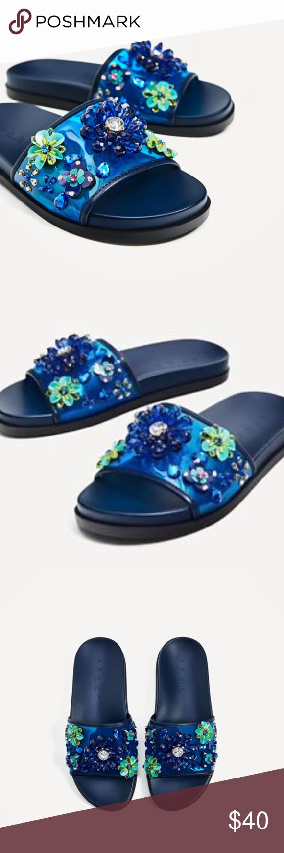 Zara Blue Floral Beaded Slides Flip Flop Slippers Size: EUR 36 US 6  Condition: New without tags, no signs of wear, no flaws or damages  Delivery: P2 Zara Shoes Slippers